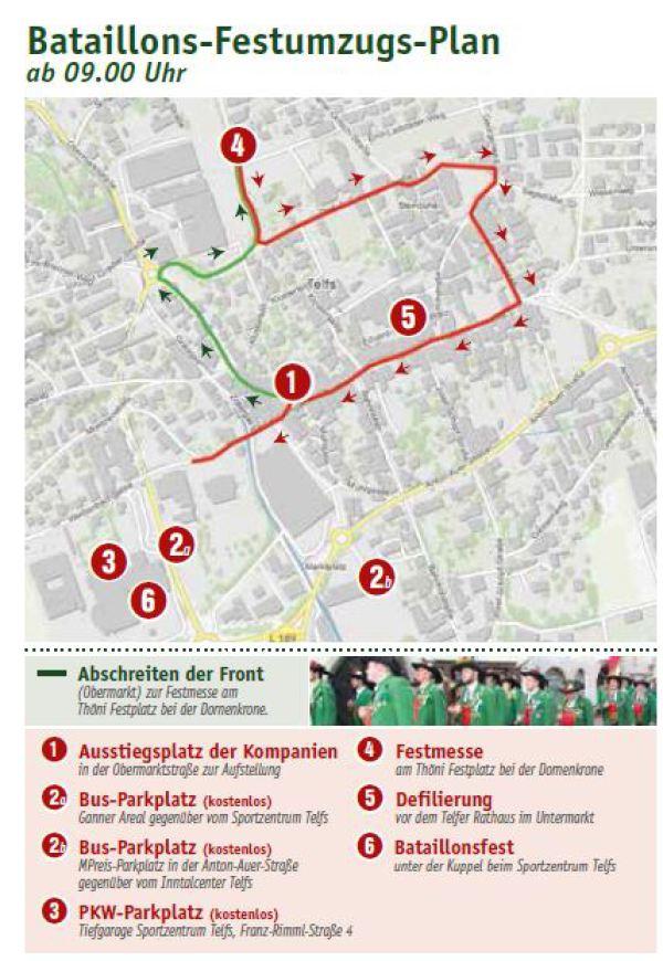 Kompanie Telfs / Plan Bataillonsfest Hörtenberg 2016 / Zum Vergrößern auf das Bild klicken