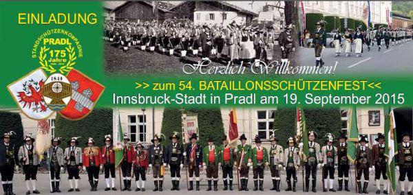 Schützenkompanie Pradl / Einladung Bataillonsschützenfest Innsbruck / Zum Vergrößern auf das Bild klicken