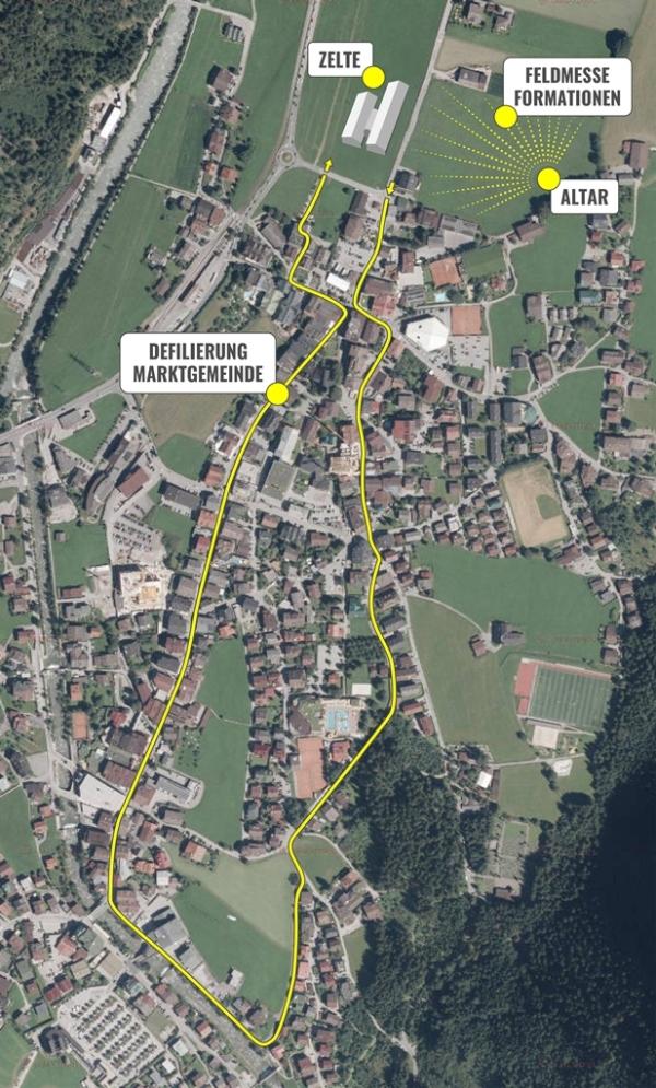 SK Mayrhofen / Umzugsroute Alpenregionstreffen / Zum Vergrößern auf das Bild klicken