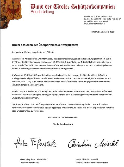 BTSK / Brief Überparteilichkeit